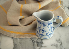 Load image into Gallery viewer, heavyweight yellow stripe linen dish towel with mug