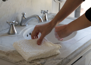 diamond weave linen small hand towel - white