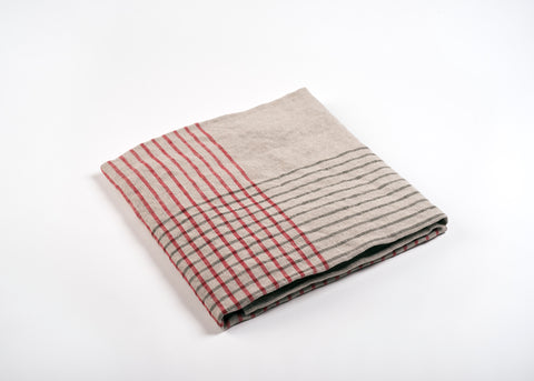 lightweight grid linen dish towel - red and gray