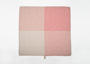 lightweight grid linen dish towel - red