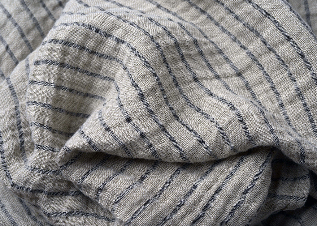 two-ply stripe linen hair towel