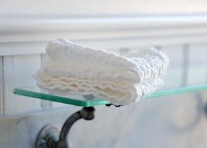 diamond weave linen washcloth - white