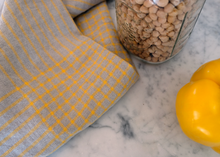 Load image into Gallery viewer, lightweight grid linen dish towel - yellow