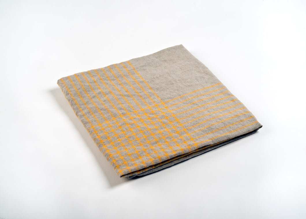 lightweight grid linen dish towel - yellow