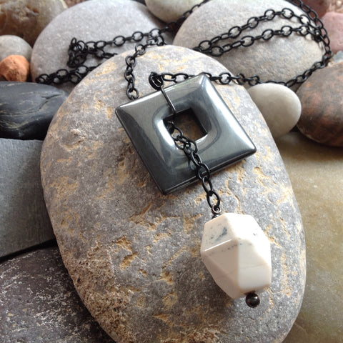 Hematite Square with Jasper Nugget Necklace