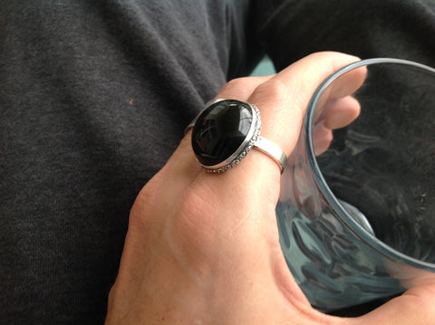 High Dome Onyx Cabochon Sterling Ring
