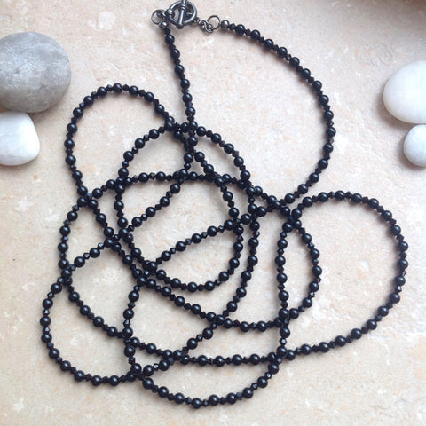 Long Small Bead Black Onyx and Crystal Necklace