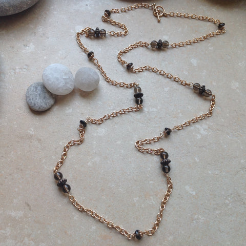 Bronze and Smokey Quartz Necklace