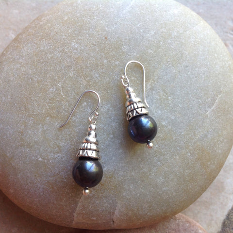 Raven's Wing Pearl Earrings