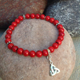 Coral and Sterling Silver Celtic Charm Bacelet