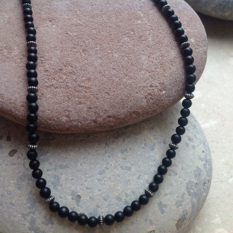 Matte Black Small Bead and Silver Necklace