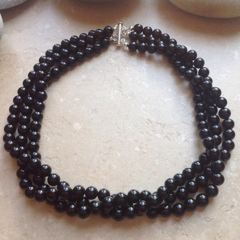 3 Strand Black Onyx Necklace