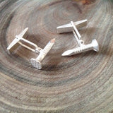 Sterling Silver Nail Cuff Links