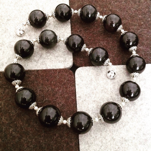 Obsidian and Pewter Necklace