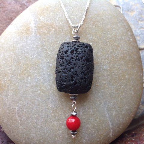 Lava and Coral Pendant