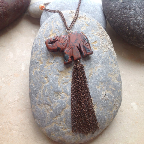 Carved Elephant Necklace