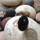Large Cabachon Black Onyx and Sterling Silver Ring
