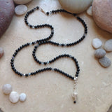 Black Onyx and Crystal with Filigree accent Necklace