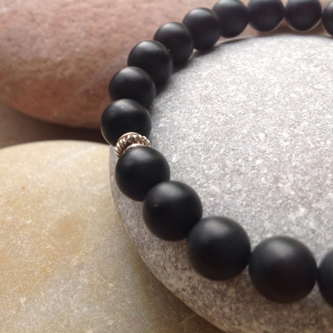 Matte Black Agate Beaded Bracelet