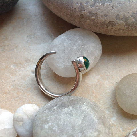 Green Agate Sterling Silver Open Ring
