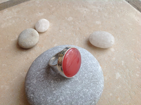 Pink Agate Sterling Silver Ring