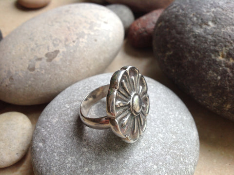 Sterling Silver Large Flower Ring