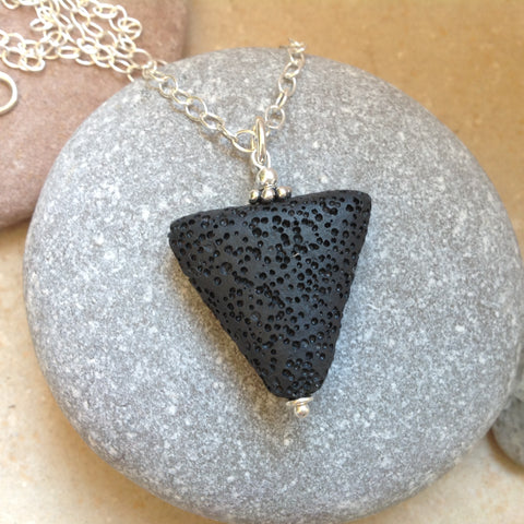 Black Lava Triangle Pendant with Sterling Silver