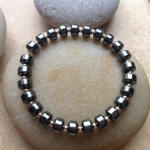 Hematite and Sterling Stretch Bracelet