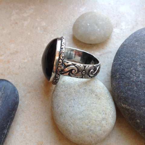 Black Onyx Sterling Flower Scroll Ring