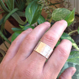 Thick Sterling Silver Hammered Open Band