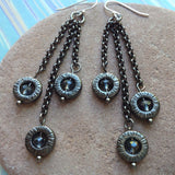 Gunmetal and Crystal Earrings