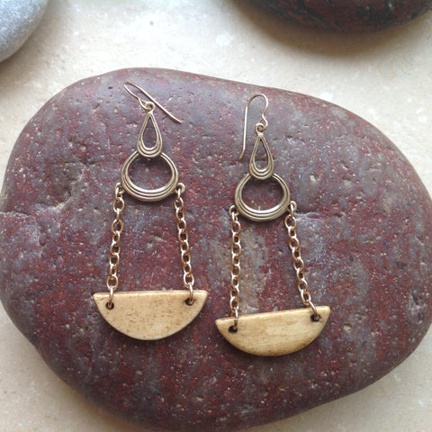 Bronze and Bone Earrings