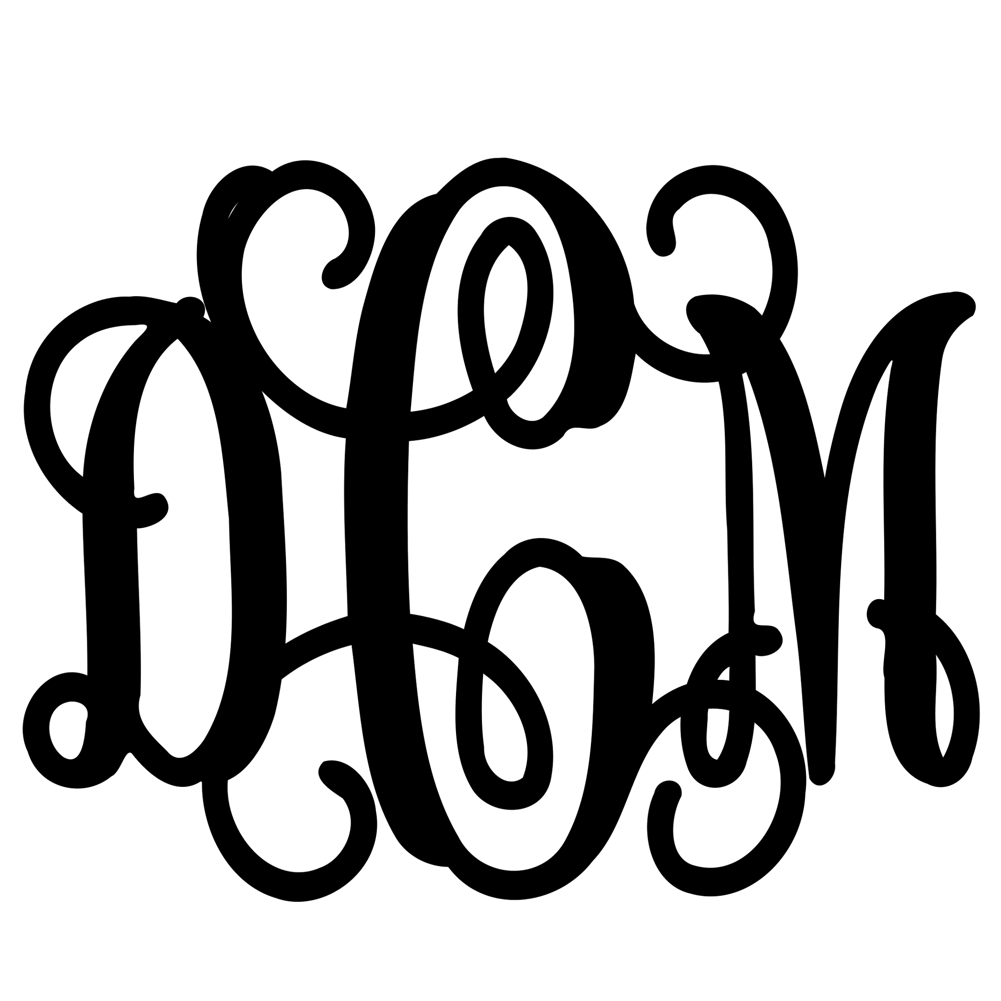 'Metal Three Letter Monogram