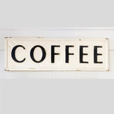Embossed Metal Coffee Sign