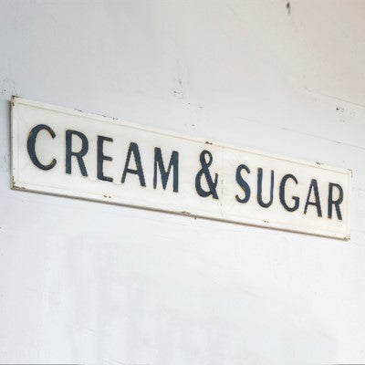 Embossed Metal Cream & Sugar Sign