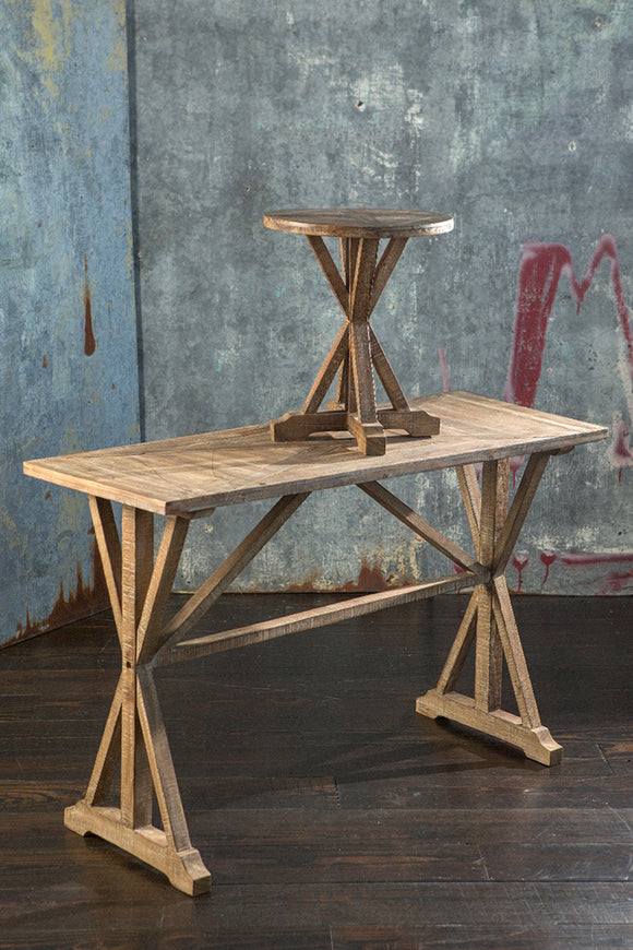 Wooden Burn Finish Console Table - Local Pick up