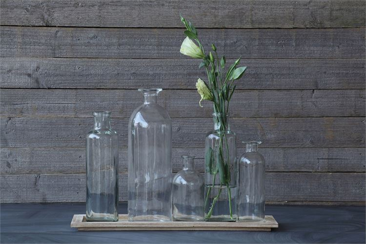 Glass Vase Set with Wood Base