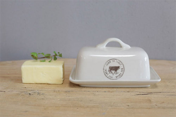 Stoneware Butter Dish - Cow