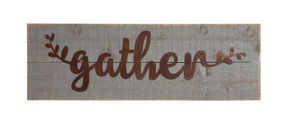 Wooden Gather Sign Gray/Rust