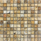 1 x 1 Scabos Travertine Tumbled Mosaic Tile - DEKO Tile