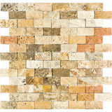 1 x 2 Scabos Travertine Splitface Mosaic Tile - DEKO Tile