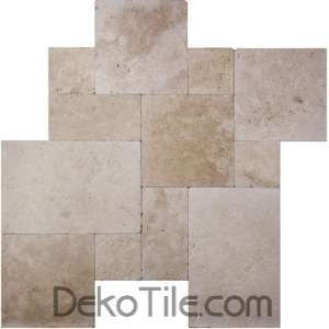 Ivory Tumbled French Pattern Travertine Tile - DEKO Tile