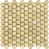 1 inch Hexagon Polished Emperador Light Mosaic Tile - DEKO Tile