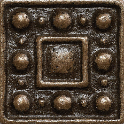 1 x 1 Dots Decorative Metal Insert - Bronze - DEKO Tile