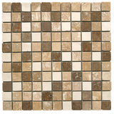1 x 1 Mix Honed and Filled Travertine Mosaic - DEKO Tile