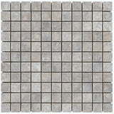 1 x 1 Silver Travertine Tumbled Mosaics - DEKO Tile