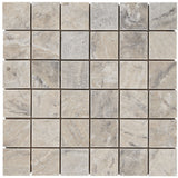 2 x 2 Silver Travertine Tumbled Mosaic Tile - DEKO Tile