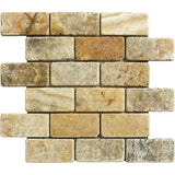 2 x 4 Scabos Travertine Tumbled Mosaic Tile - DEKO Tile