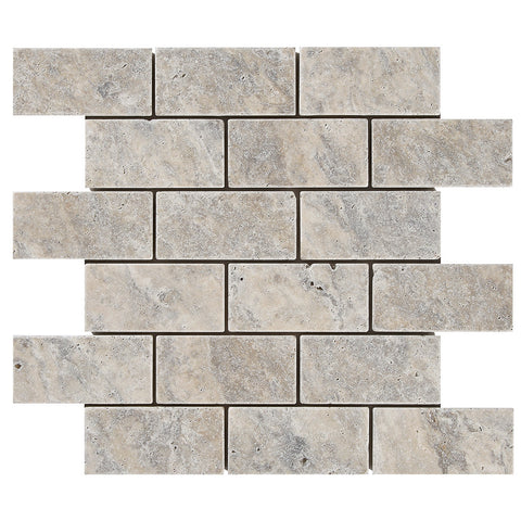 2 x 4 Silver Travertine Tumbled Mosaic Tile - DEKO Tile