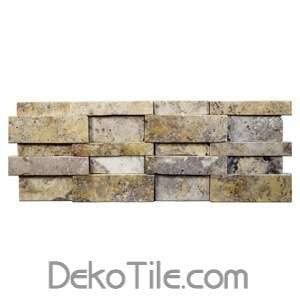 3D Hi-Low Scabos Cubic Travertine Honed Mosaic Ledger Wall Panels - DEKO Tile
